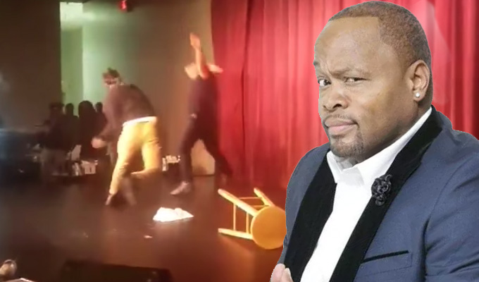 Comedian viciously attacked on stage | Video captures aggressor hurling stools and mic at Steve Brown