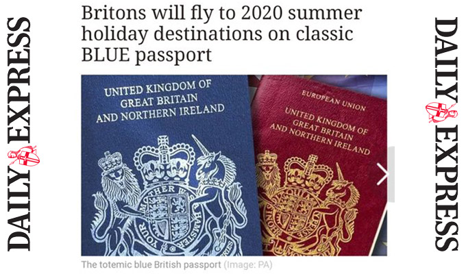 Red faces over blue passport | Daily Express falls for Monty Python spoof