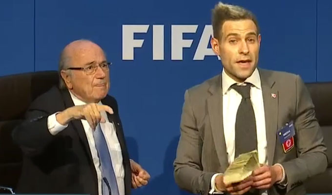 Simon Brodkin charged over Fifa stunt | Trespass rap after pranking Sepp Blatter
