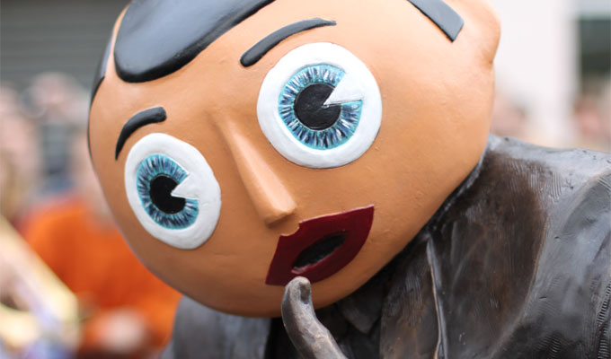 He'll gaze on the Timperley sunset forever... | Frank Sidebottom statue unveiled