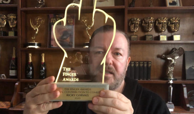 Ricky Gervais is given the Finger | Award for comedy that makes the world a better place.