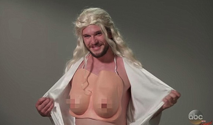No nipples please... | Fake boobs pixellated in Kit Harington comedy sketch
