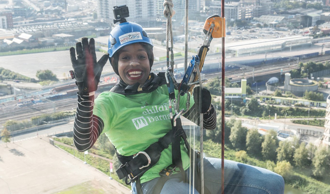 Hughes a brave girl? | London abseils off Olympic tower for charity