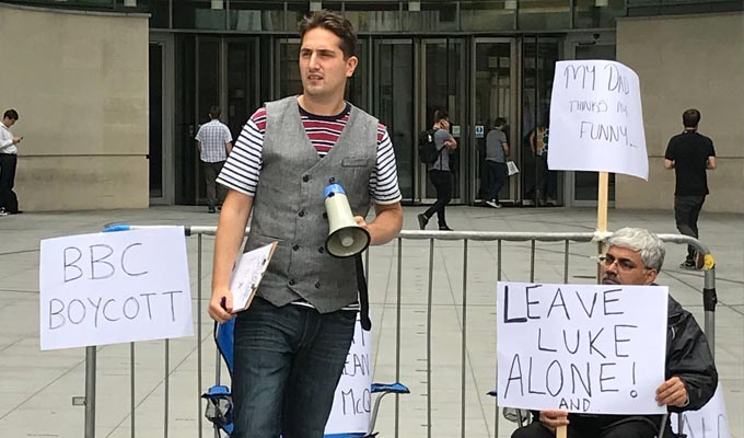 Comedian protests about his own BBC show | Luke McQueen camps out at Broadcasting House