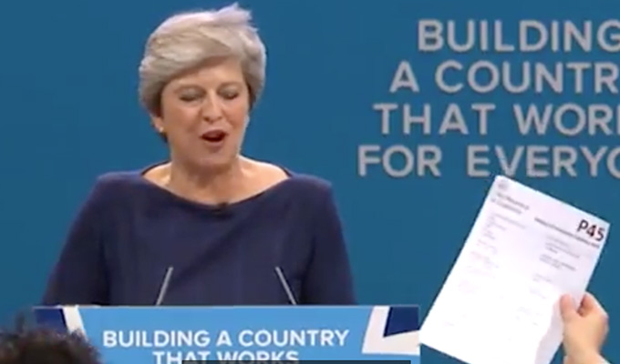 Simon Brodkin gives Theresa May her P45 | Comic interrupts Tory conference