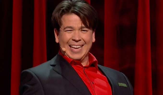 Michael McIntyre gets the boot | ...to heal his fractured leg