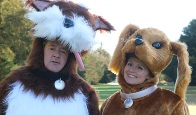 Johnny and Sian dressed as giant dogs
