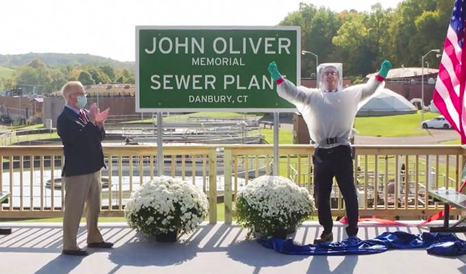 John Oliver unveils the sewage plant named in his honour | The saga ends