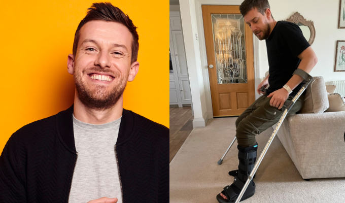 Chris Ramsey breaks his ankle | ...and with a days-old baby to contend with too!