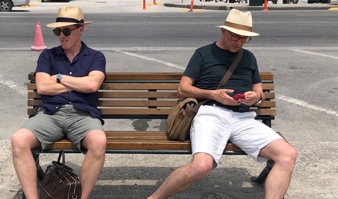 Filming starts on The Trip To Greece | Rob Brydon tweets a picture of himself and Steve Coogan