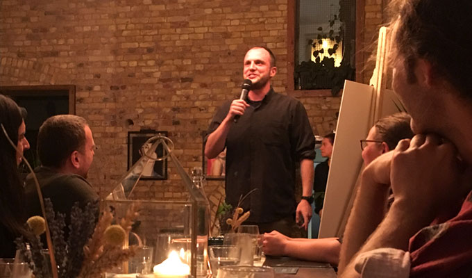 Supper With A Side Of Humour | Steve Bennett at a pop-up mixing food, whisky and comedy
