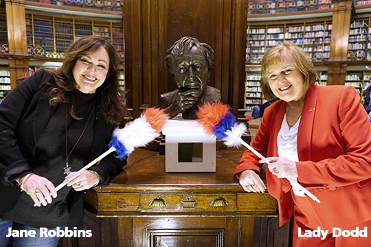 Jane Robbins and Lady Dodd with bust