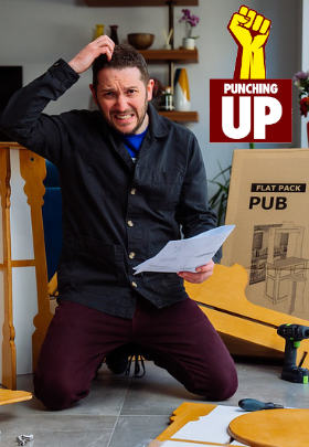 Picture of Richardson scratching his head as he grapples with the flatpack pub