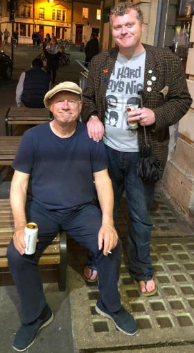 Jem Roberts with Neil outside a pub