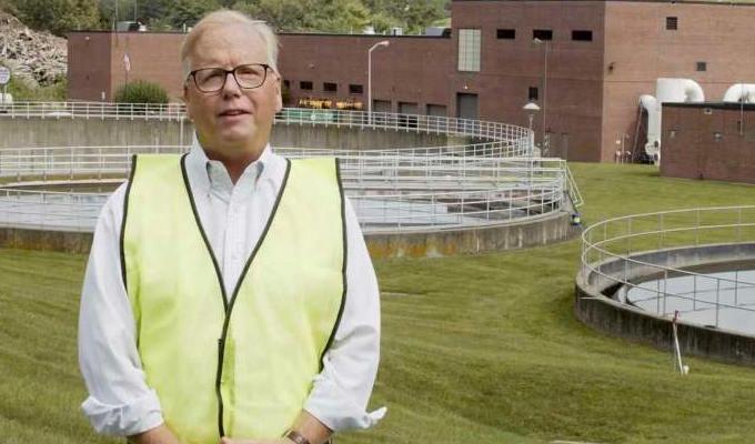 Mark Danbury in high-vis jacket at sewage plant