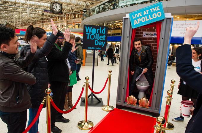 Pat Monahan comedian toilet Waterloo station