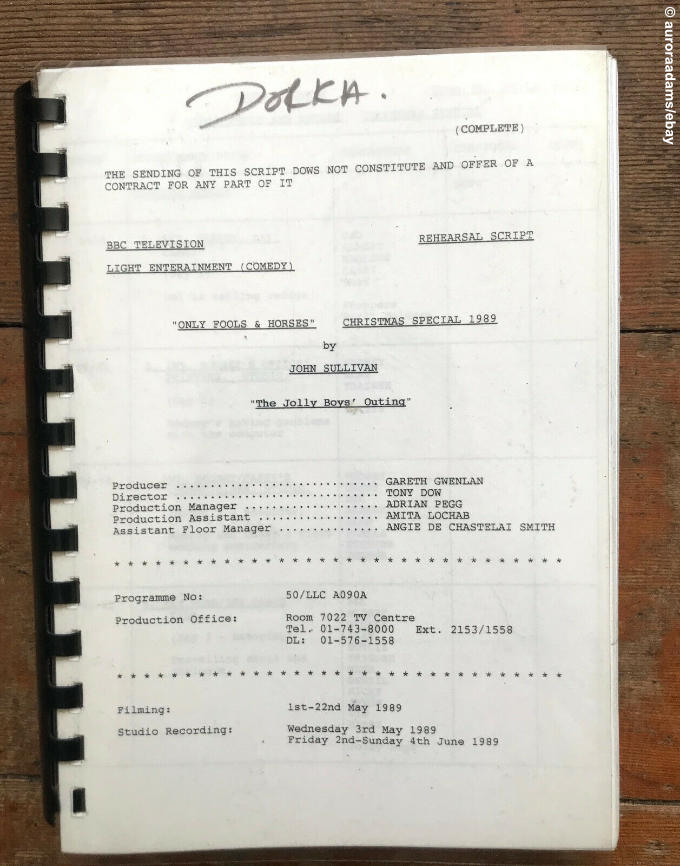 Cover of the typewritten Only Fools script